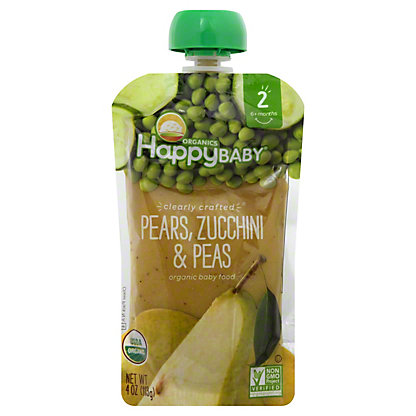 Happy Baby Organics Clearly Crafted Stage 2 Pears Zucchini Peas,4 OZ