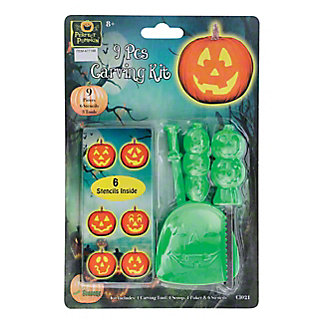 Seasons USA The Perfect Pumpkin Carving Kit with Stencils, Assorted Colors, 9 PC