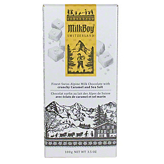 Milkboy Swiss Alpine Milk Chocolate with Crunchy Caramel & Sea Salt, 3.5OZ