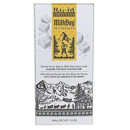 Milkboy Swiss Alpine Milk Chocolate with Crunchy Caramel & Sea Salt, 3.5OZ