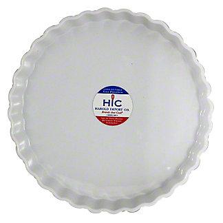 Harold Imports Whiteware Quiche Round 10 Inch Dish, 10 IN