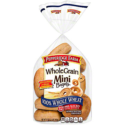 Pepperidge Farm Whole Grain 100% Whole Wheat Mini Bagels,12 CT
