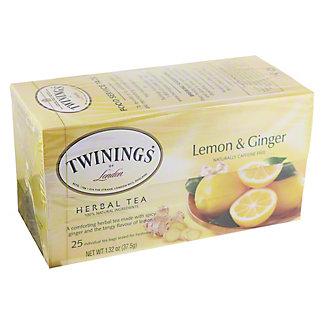 Twinings Lemon And Ginger Herbal Tea Bags,25 CT