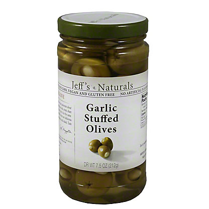 Jeff's Naturals Garlic Stuffed Olives,7.50 oz