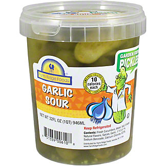 Farm Ridge Foods Garlic Sour Pickles, 32 OZ