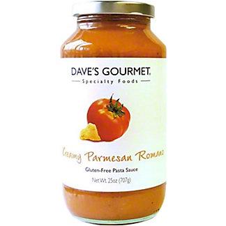 Daves Gourmet Pasta Sauce Creamy Parmesan Romano, 25 oz