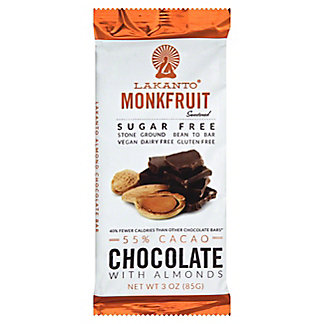 Lakanto Chocolate 55% Almond Gluten Free Sugar Free, 3 oz