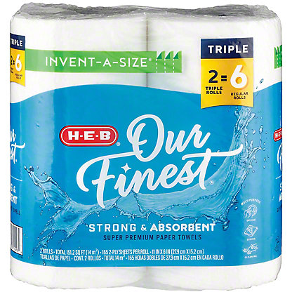 H-E-B Our Finest Invent-a-Size Huge Roll Paper Towels, 2 ct