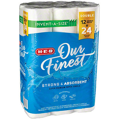 H-E-B Our Finest Invent A Size Super Roll Paper Towels, 12 ct