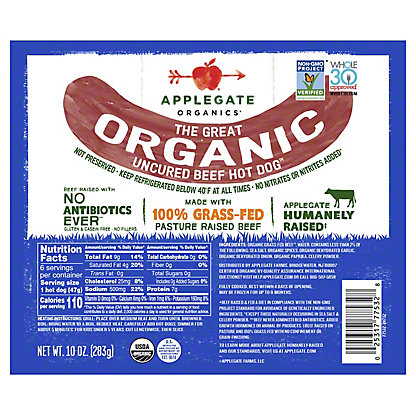 Applegate Organic Original Beef Uncured Hot Dogs, 12 oz