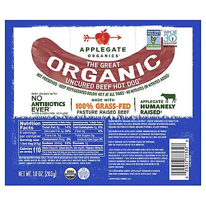 Applegate Organic Original Beef Uncured Hot Dogs, 12 oz