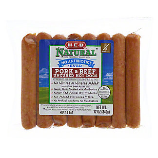 H-E-B Natural Antibiotic Free Pork & Beef Hot Dogs,12 OZ