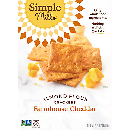 Simple Mills Farmhouse Cheddar Almond Flour Crackers, 4.25 oz