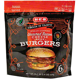 H-E-B Fully Cooked Bacon Cheeseburgers, 6 ct