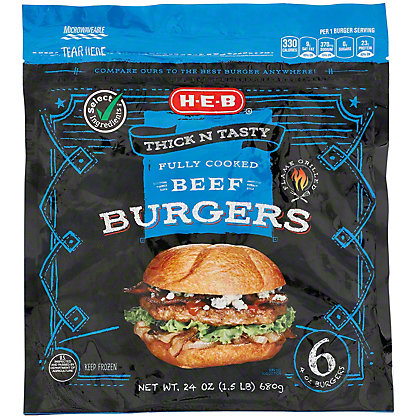 H-E-B Fully Cooked Beef Burgers,6 CT
