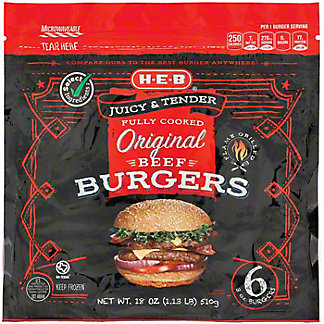 H-E-B Fully Cooked Original Beef Burgers, 6 ct