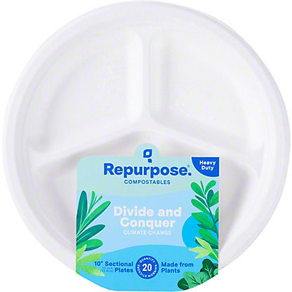 Repurpose 10 Inch Bagasse Plates, 20 ea