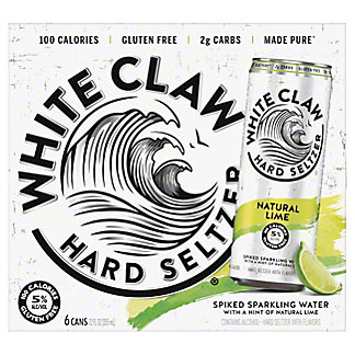 White Claw Hard Seltzer Natural Lime, 6/12OZ