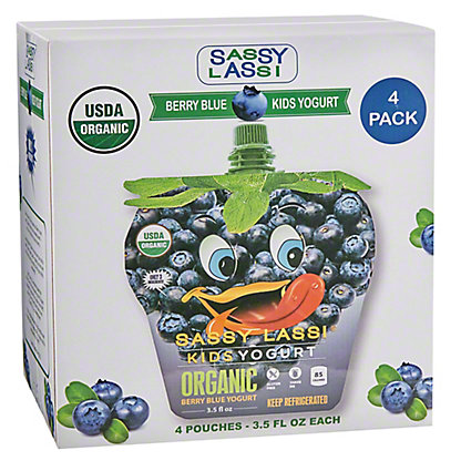 Sassy Lassi Kids Yogurt Organic Berry Blue Yogurt,4/3.5Z