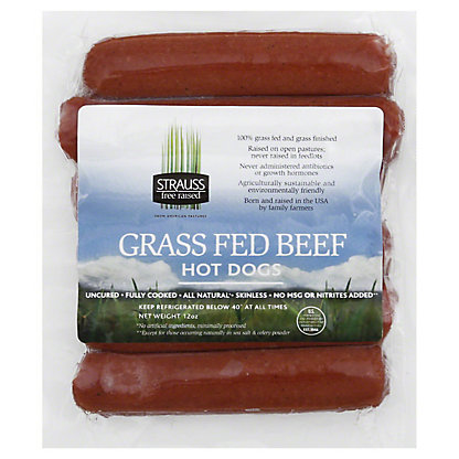 Strauss Grass Fed Beef Hot Dogs,12 OZ