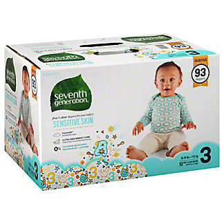Seventh Generation Free & Clear Baby Diaper Value 93 ct, Size 3
