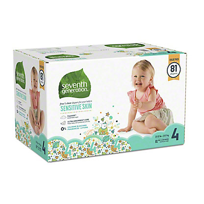 Seventh Generation Free & Clear Baby Diaper Value 81 ct, Size 4