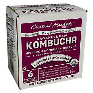 Central Market Kombucha Raspberry Lemon Ginger 16 oz Bottles, 6 pk