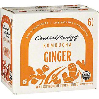 Central Market Ginger Tea Kombucha 16 oz Bottles, 6 pk