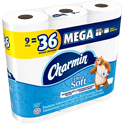 Charmin Ultra Soft Mega Roll Bath Tissue, 9 ct