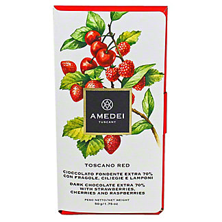 Amedei Toscana Red Dark Chocolate with Strawberries, Cherries and Raspberries, 50GR