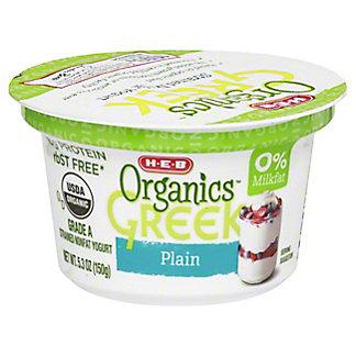 H-E-B Organics Non-Fat Plain Greek Yogurt, 5.3 oz