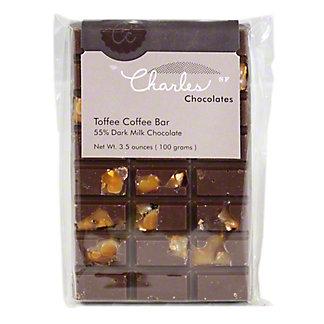 Charles Chocolates Chocolate Toffee Coffee Bar, 3.9OZ