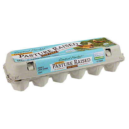 Central Market Organic Pasture Raised No Soy Large Brown Eggs, 12 ct