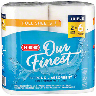 H-E-B Our Finest Full Sheets Triple Roll Paper Towels, 2 ct