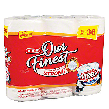 H-E-B Our Finest Ultra Strong Texas Size Mega Roll, 9 ct