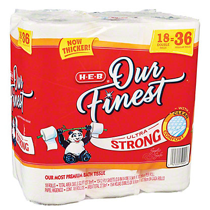 H-E-B Our Finest Ultra Strong Double Rolls,18 ct