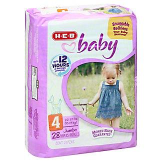 H-E-B Baby Jumbo Pack Diapers, 28 ct, Size 4