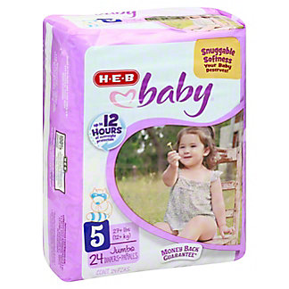 H-E-B Baby Jumbo Pack Diapers, 24 ct, Size 5