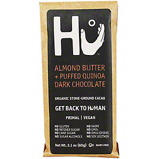 Hu Hu Almond Butter & Puffed Quinoa Dark Chocolate Bar,2.1OZ