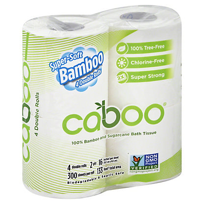 Caboo 300 Sheet 4 Pack Bathroom Tissue, Each