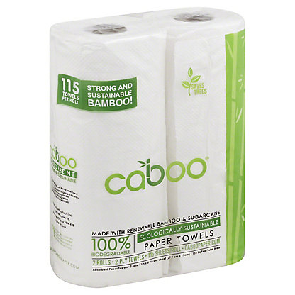 Caboo 115 Sheet 2 Pack Towel Rolls, Each