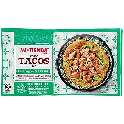 Mi Tienda Seasoned Diced Boneless Skinless Chicken Thighs- Para Tacos de Pollo Con Chile Verde