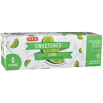 H-E-B Lime Sweetened Sparkling Water 12 oz Cans, 12 pk