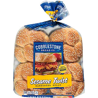 Cobblestone Bread Co. Sesame Twist Hamburger Rolls, 8 ct