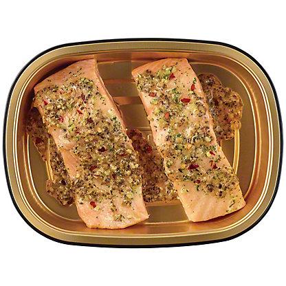 H-E-B Meal Simple Garlic Pesto Atlantic Salmon Portions, 2 ct