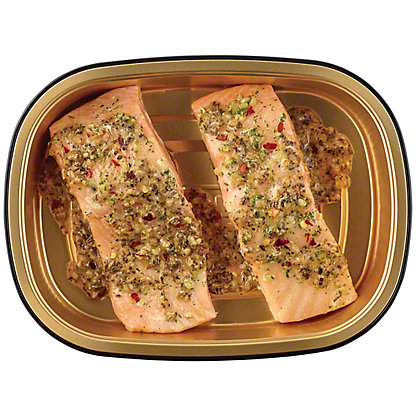 H-E-B Meal Simple Garlic Pesto Atlantic Salmon Portions, 2 ct