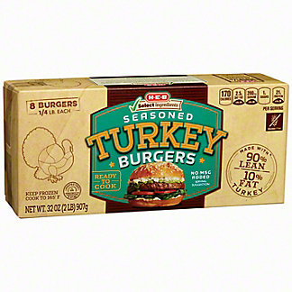 H-E-B Select Ingredients Seasoned Turkey Burger, 8 ct