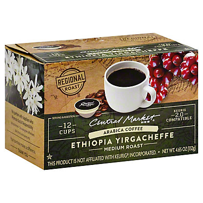 Central Market Ethiopian Yirgacheffe Medium Roast Single Serve Coffee Cups, 12 ct