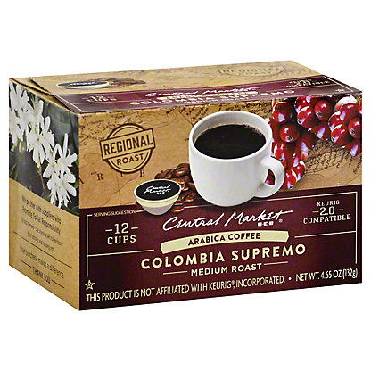 Central Market Colombia Supremo Medium Roast Single Serve Coffee Cups, 12 ct