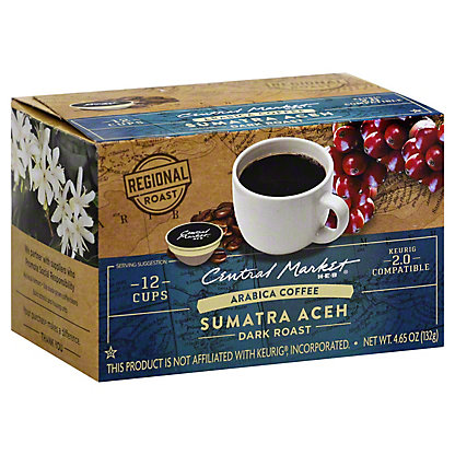 Central Market Sumatran Aceh Dark Roast Single Serve Coffee Cups, 12 ct